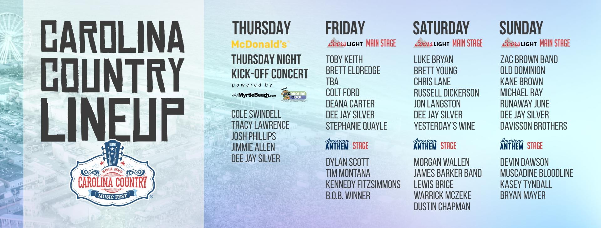 carolina country music festival lineup