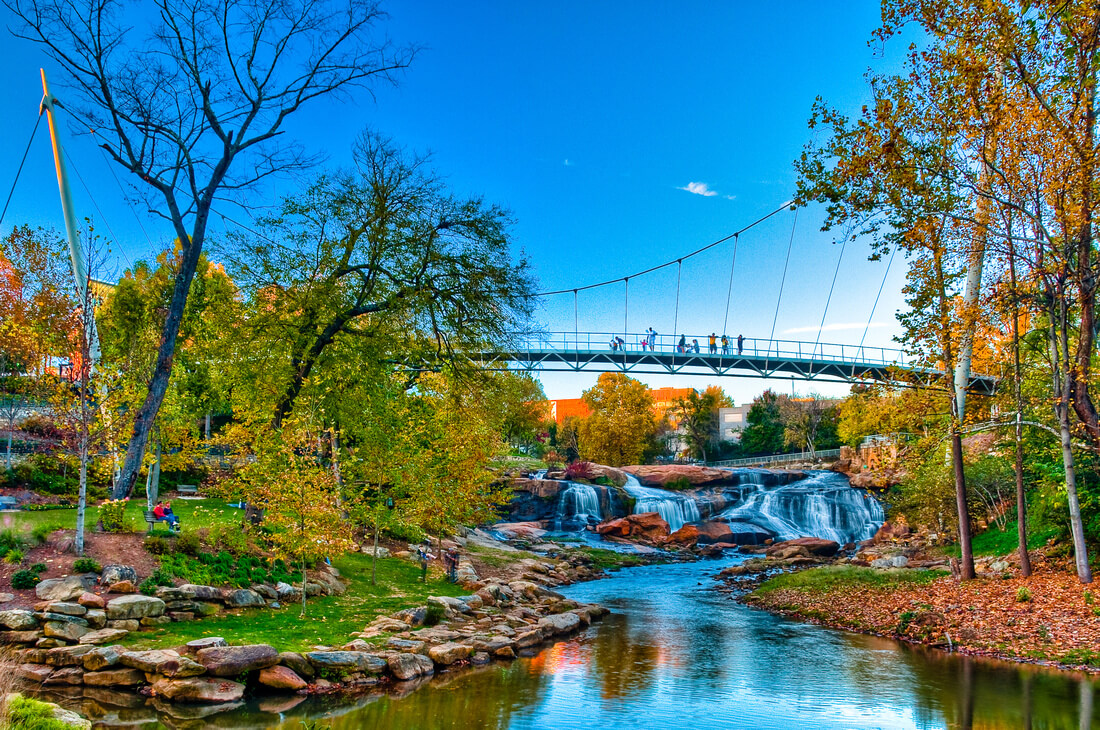 top things to do in Greenville, SC SC travel guide falls park at reedy river
