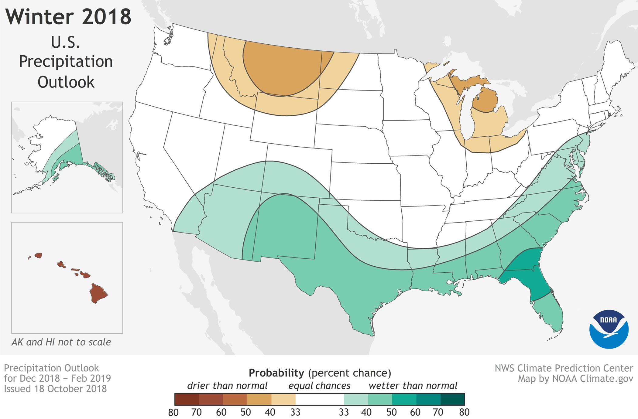 2018-19 Winter Outlook map south carolina sc travel guide Precipitation Forecast