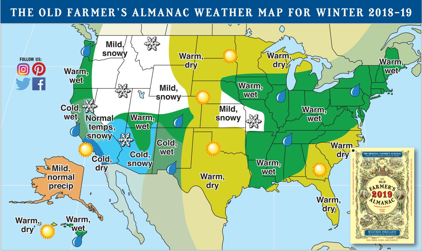 south carolina winter forecast 2018-2019 old farmers almanac sc travel guide